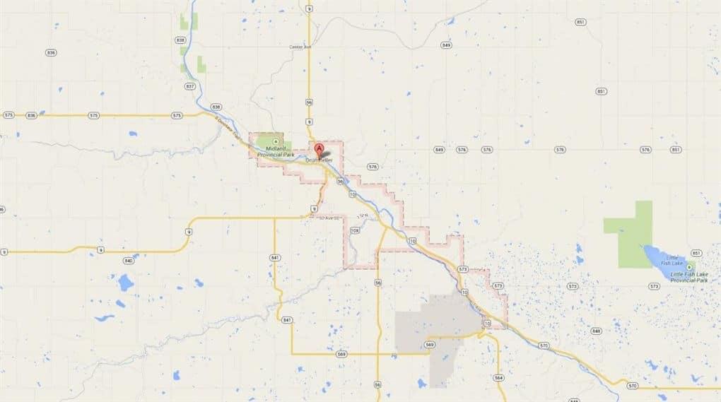 Kaart Drumheller