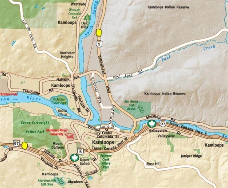Kaart Kamloops
