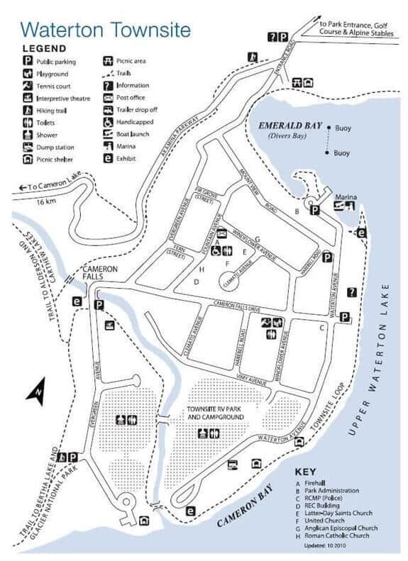 Kaart Waterton Townsite